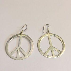 Jewelry - large peace ☮️ sign sterling pierced earrings ✌️